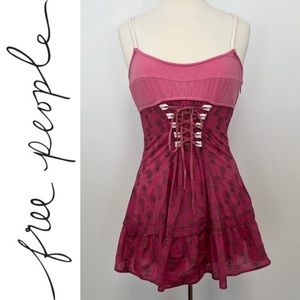Free People NWT Tank Top Pink Corset Floral Shirt